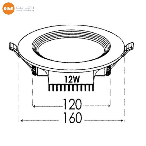 پنل ال ای دی 12 وات پارس شعاع توس مدل سولاریس دایره ای