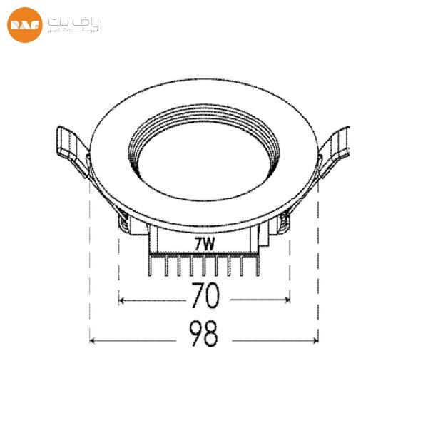 پنل ال ای دی 7 وات پارس شعاع توس مدل سولاریس دایره ای