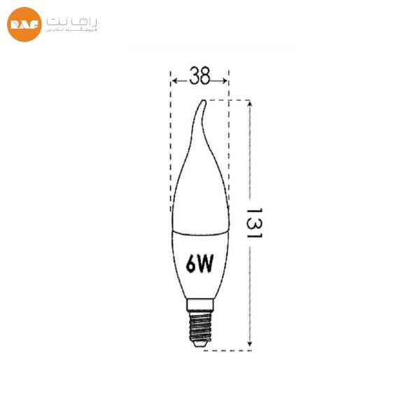 لامپ ال ای دی 6 وات مات پارس شعاع توس مدل اشکی